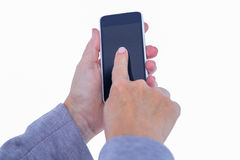 Hand of woman touching smartphone Stock Photos