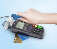 Hand of woman using payment terminal, paying with credit card, f Stock Images
