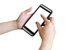 Hand woman using phone on isolated with clipping path. Royalty Free Stock Image