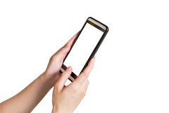 Hand woman using phone on isolated with clipping path. Royalty Free Stock Photo