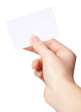 Hand of women holding blank paper label Royalty Free Stock Images