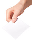 Hand of women holding blank paper label Royalty Free Stock Photo