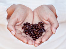 Hand of women holding coffee beans . Royalty Free Stock Images