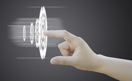 Hand of women pushing button on touch screen. Backgroud royalty free stock photos