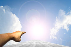 Hand on Wood way and Blue sky Royalty Free Stock Photography