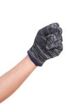Hand in a woollen glove on white background Royalty Free Stock Image