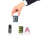 Hand and word. Idea isolated on white background Royalty Free Stock Photo
