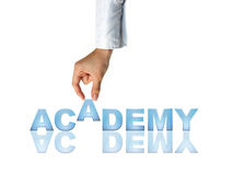 Hand and word Academy Stock Photo