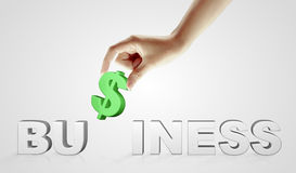 Hand and word Business - business concept Stock Photo