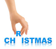 Hand and word Christmas Royalty Free Stock Photography