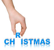 Hand and word christmas with snow Stock Photo