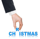 Hand and word christmas with snow Royalty Free Stock Image