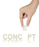 Hand and word Concept isolated Stock Photo