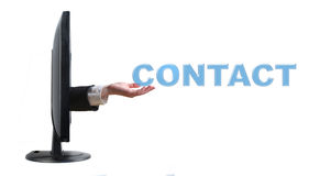 Hand and word contact Stock Photography