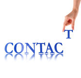 Hand and word Contact Royalty Free Stock Photography