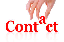 Hand and word contact isolated Royalty Free Stock Image