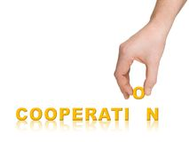 Hand and word Cooperation Royalty Free Stock Photo