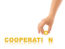 Hand and word Cooperation Royalty Free Stock Photography