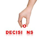 Hand and word Decisions Royalty Free Stock Images