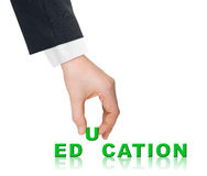 Hand and word Education Stock Photography