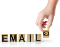 Hand and word email Royalty Free Stock Image