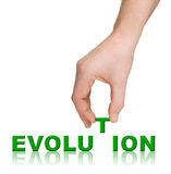 Hand and word Evolution Royalty Free Stock Images