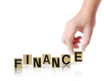 Hand and word Finance Royalty Free Stock Photography
