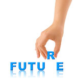 Hand and word Future Stock Images