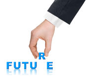Hand and word Future stock image
