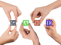 Hand and word Game Stock Images