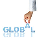 Hand and word Global. Business concept (isolated on white background royalty free stock image