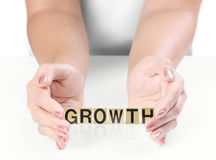Hand and word growth Royalty Free Stock Photography