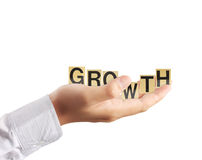 Hand and word growth Stock Photo