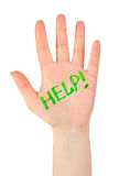 Hand and word Help Stock Image