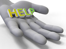 Hand and word help. 3D render illustration of a hand holding the word help. The composition is isolated on a white background with shadows Royalty Free Stock Photo