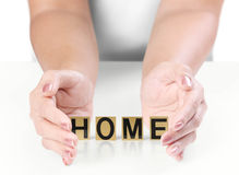 Hand and word Home Stock Images