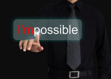 Hand and word I'm possible. Business Hand and word I'm possible Royalty Free Stock Image
