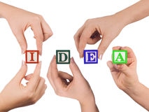 Hand and word Idea Stock Photography