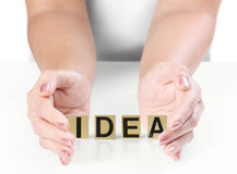 Hand and word Idea Royalty Free Stock Images