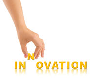 Hand and word Innovation Stock Images