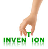 Hand and word Invention Stock Photo