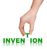 Hand and word Invention Stock Photography