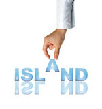 Hand and the word Island. Concept (isolated on white background royalty free stock image