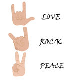 Hand and word love rock and peace. Royalty Free Stock Photos