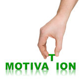 Hand and word Motivation Stock Photos