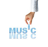 Hand and word Music. Concept (isolated on white background Royalty Free Stock Photos