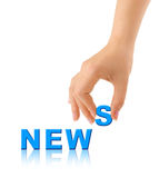 Hand and word News Stock Images
