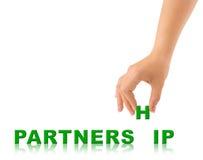Hand and word Partnership Stock Photo