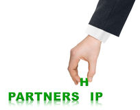 Hand and word Partnership Stock Photography