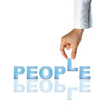 Hand and word People. Business concept (isolated on white background Stock Photo